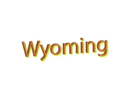 Wyoming written illustration, american state isolated in a white background composition 스톡 콘텐츠