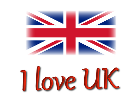 I love UK write with Uk flag illustration composition