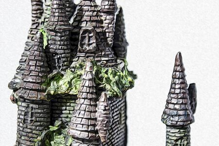 Fake castle with seaweed in a white background composition illustration