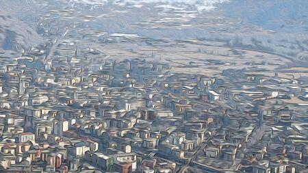city landscape houses and roads composition illustration