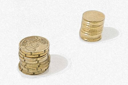Stack of coins in a white background composition illustration