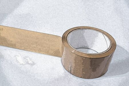 Packing tape in a background composition illustration Stock Photo