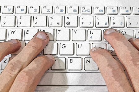 Hand writing with a keyboard illustration Stock Photo