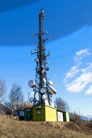 Telecommunication tower in a blue sky and clouds composition illustration