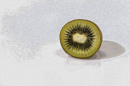 Kiwi slice in a white background composition illustration