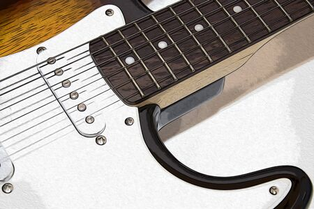 Electric guitar in a white background illustration