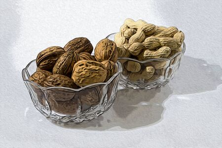 Walnuts and peanuts in crystal glasses illustration Stock Photo