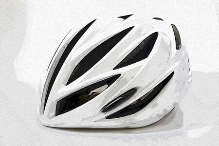 white cycling helmet in a white background illustration