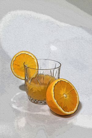 Orange juice with orange slice in a crystal glass illustration