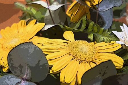 Sunflowers composition and green leaves yellow and white sunflower illustration Stock Photo