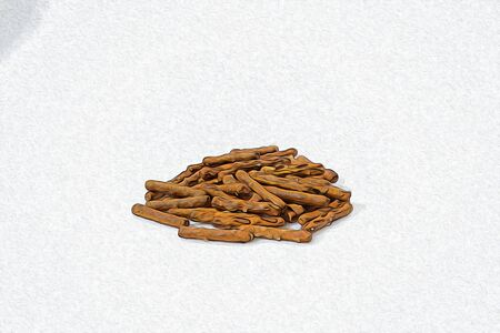Snack salty mix in a white background composition illustration Stock Photo