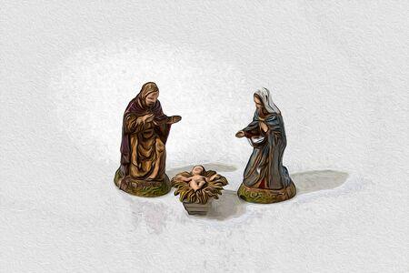 Christmas nativity scene statue in a white background illustration Stock Photo