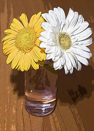 Sunflowers composition in a glass on a wood table white and yellow sunflowers illustration