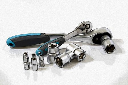 A ratchet key in a white background illustration