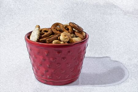 Salty snack mix in a red cup composition in a white background illustration