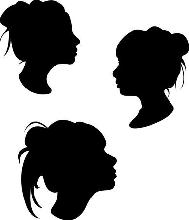 siluetas de mujeres: silueta de una ni�a  Vectores