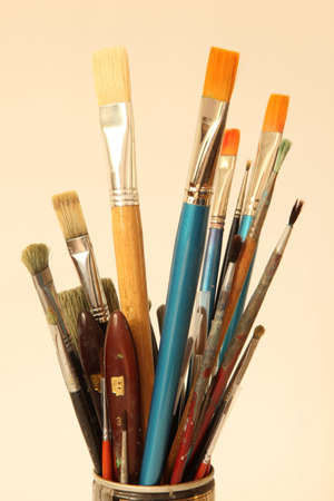 tempera: Brushes for oil and tempera painting Stock Photo