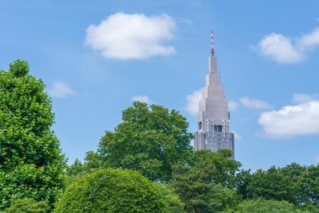 High-rise building seen from the garden Standard-Bild