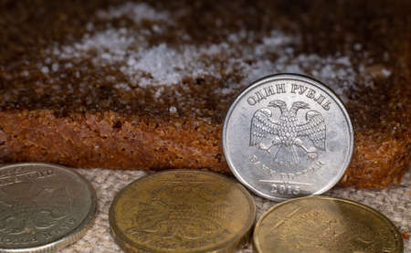 coin 1 ruble between other rubles and bread with salt 免版税图像