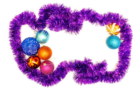 Christmas toys and tinsel on a white background, isolate