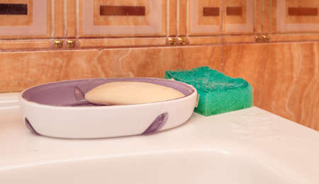 a soap dish with soap and a green dishwashing sponge are on the sink 免版税图像