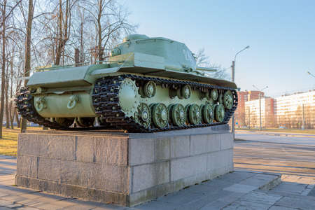 Soviet military tank stands on a pedestal in memory of the second world war 免版税图像