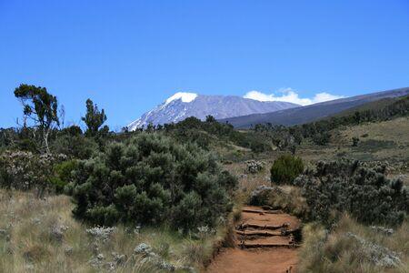 A beautiful view at Mount Kilimanjaro in Tanzania Stock Photo