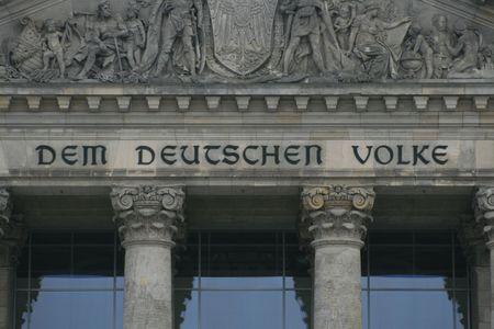 Dem Deutschen Volke, The Reichstag in Berlin Stock Photo