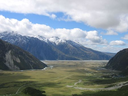 Valley in Mount Cook NP on the Southern Island of New Zealand