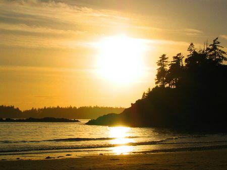 Sunset near Tofino on Vancouver Island Stock Photo