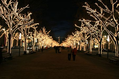 tilo: Unter den Linden en Berl�n de noche  Foto de archivo