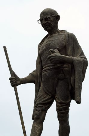 Statue of Mahatma Gandhi in the city of Udaipur in India Stock Photo