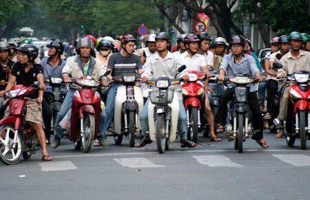 Saigon, Vietnam, August 30, 2008 - Vietnamese motorbikes Editorial