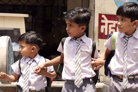 Jaipur, India, August 7, 2009 - Indian Schoolkids