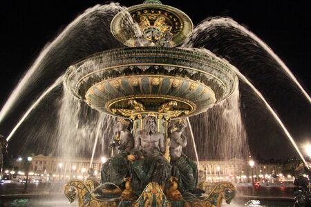 Fountain at Place de la Concorde in Paris Editorial