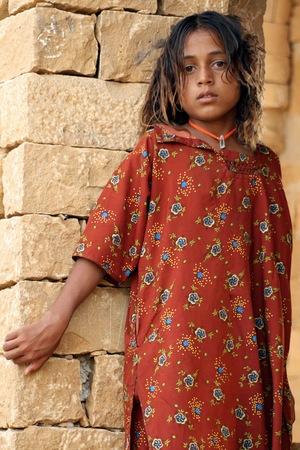 Jaisalmer, India, July 31, 2009 - Little Jaisalmer girl Editorial