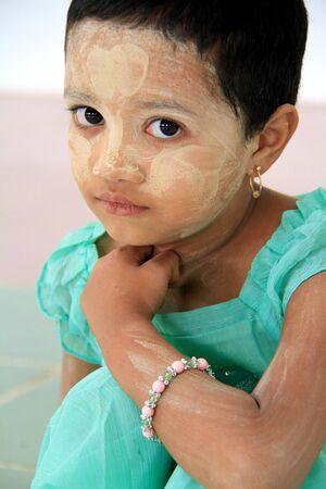 Temple Bago, Myanmar, July 27, 2013 - Little Girl in Myanmar