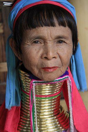 Inle lake village, Myanmar, August 7, 2013 - Palaung longneck woman
