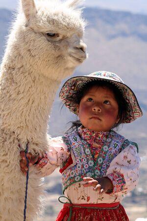 Chivay, Peru, August 7, 2011 - Peruvian Little Girl Editorial