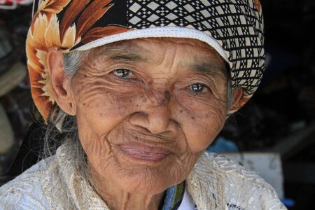 Yogyakarta, Indonesia, September 17, 2014 - Java Old Woman