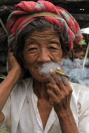 Indein village, Myanmar, August 7, 2013 - Old Myanmar Woman