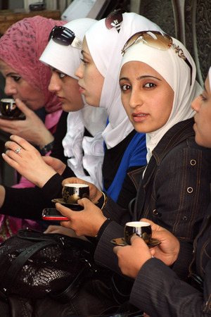Damascus, Syria, April 17, 2010 - Syrian Teahouse