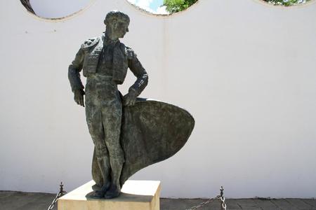 Statue of a bullfighter at the bullring in Ronda