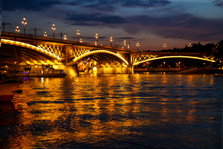 View of Margate Bridge by the light of lamps at night Budapest Hungary. 写真素材