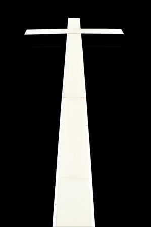 White Cross in perspective on black background Stock Photo - 11518919