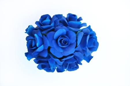 blu: Composizione flori blu in porcellana di Capodimonte  Stock Photo