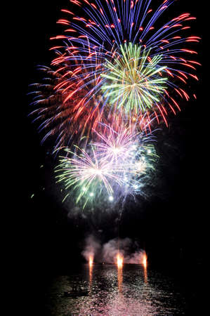 fireworks on the lake with reflections on water Stock Photo - 14970296