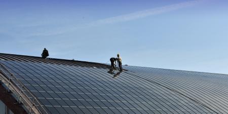 Construction site for solar panels  photo