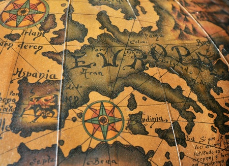 wind rose: Antiguo mapa de Europa con Wind Rose