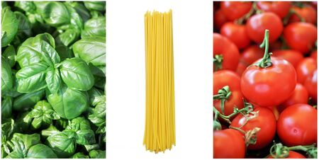 Colors of the Italian flag with spaghetti ingredients photo